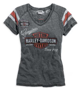 Harley-Davidson Womens V-neck Genuine Oil Can Burnout Tee Grey Black 99196-14VW - Wisconsin Harley-Davidson