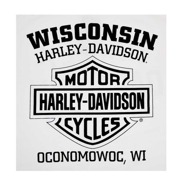 Harley-Davidson Men's Long Sleeve Orange Bar & Shield White Shirt 30291964 - Wisconsin Harley-Davidson