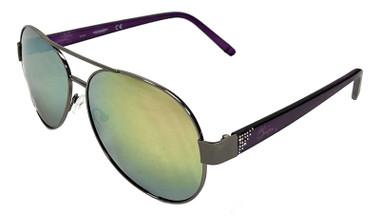 Harley-Davidson Women's Crystal Aviator Sunglasses, Gun Metal Frames & Pink Lens - Wisconsin Harley-Davidson