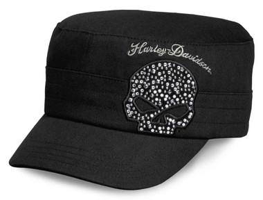 Harley-Davidson Women's Crystal Willie G Skull Flat Top Cap, Black 99556-16VW - Wisconsin Harley-Davidson