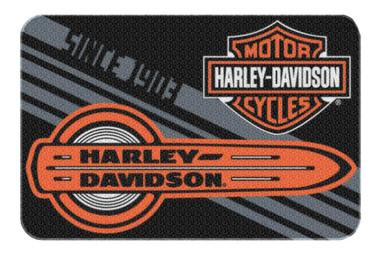 Harley-Davidson Tune Up Bar & Shield Round Edge Rug, 20 x 30 Inch Black NW080225 - Wisconsin Harley-Davidson