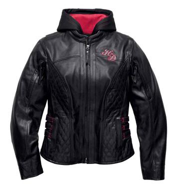 Harley-Davidson Women's Scroll Skull 3-IN-1 Leather Jacket, Black 98104-16VW - Wisconsin Harley-Davidson