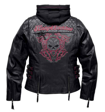 Harley-Davidson Women's Scroll Skull 3-IN-1 Leather Jacket, Black 98104-16VW - Wisconsin Harley-Davidson