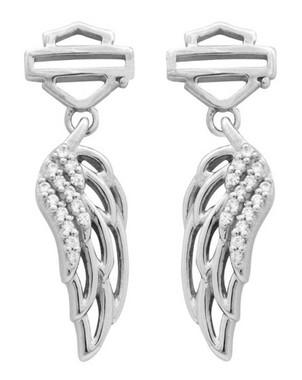 Harley-Davidson Women's Earrings, Bar & Shield Wing Dangle, Silver HDE0336 - Wisconsin Harley-Davidson