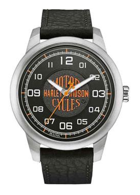 Harley-Davidson Men's Bar & Shield Script Watch, Stainless Steel/Leather 76A155 - Wisconsin Harley-Davidson