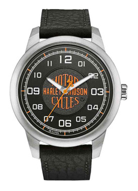 Harley-Davidson Men's Bar & Shield Script Watch, Stainless Steel/Leather 76A155 - Wisconsin Harley-Davidson