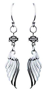 Harley-Davidson Womens Pierced Wing Bar & Shield Dangle Earrings, Silver HDE0392 - Wisconsin Harley-Davidson