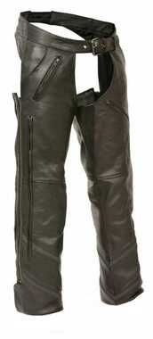 Milwaukee Leather Men's Vented Leather Chaps w/ Reflective Piping ML1144 - Wisconsin Harley-Davidson