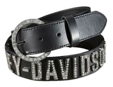 Harley-Davidson Women's Belt, Crystal H-D Font, Black Leather HDWBT10627 - Wisconsin Harley-Davidson