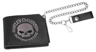 Harley-Davidson Mens Embroidered Willie G Skull Trucker Short Wallet XML6163-BLK - Wisconsin Harley-Davidson