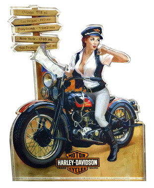 Harley-Davidson Crossroads Pin Up Lady Magnet, Hard Sided, 4 x 3 inches 8003876 - Wisconsin Harley-Davidson