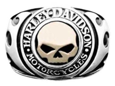 Harley-Davidson Men's Signet Ring, Flames Willie G Skull 14kt Gold Inlay HMR0019 - Wisconsin Harley-Davidson