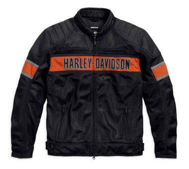 Harley-Davidson Men's Trenton Colorblocked Mesh Riding Jacket, Black 98111-16VM - Wisconsin Harley-Davidson