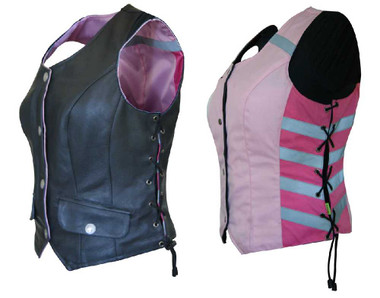 Missing Link Women's G2 D.O.C. Reversible Leather Safety Vest Hi-Viz Pink G2RVWP - Wisconsin Harley-Davidson