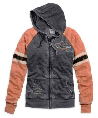 Harley-Davidson Women's Genuine Oil Can Burnout Hoodie, Colorblocked 99195-14VW - Wisconsin Harley-Davidson
