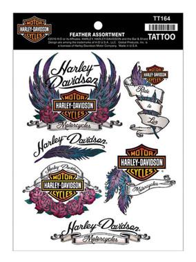 Harley-Davidson Temporary Foil Tattoos, Feather Tattoo Assortment TT164 - Wisconsin Harley-Davidson