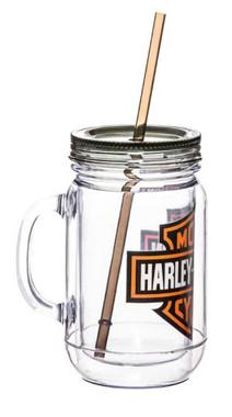 Harley-Davidson Bar & Shield Logo Mason Jar Mug, 20oz Clear w/ Black Lid 2AJ4900 - Wisconsin Harley-Davidson