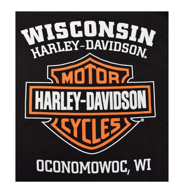 Harley-Davidson Men's Long Sleeve Orange Bar & Shield Black Shirt 30291744 - Wisconsin Harley-Davidson