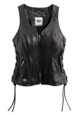 Harley-Davidson Women's Avenue Leather Vest Side Lacing, Black 98071-14VW - Wisconsin Harley-Davidson