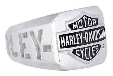 Harley-Davidson Men's H-D Cut Out Bar & Shield Emblem Ring, Silver HDR0327 - Wisconsin Harley-Davidson