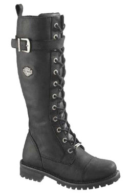 Harley-Davidson Women's Savannah Black Leather 14-Inch Motorcycle Boots D81489 - Wisconsin Harley-Davidson