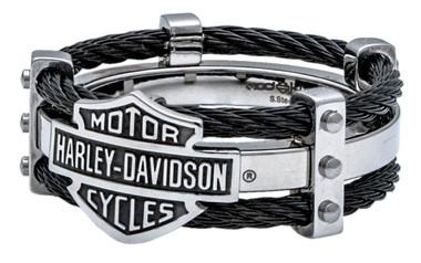 Harley-Davidson Men's Ring, Bar & Shield Logo Double Steel Cable Band HSR0022 - Wisconsin Harley-Davidson