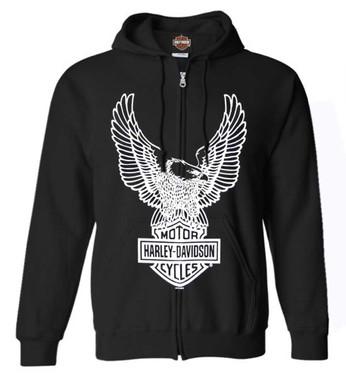 Harley-Davidson Men's Eagle Hoodie, Hooded Sweatshirt Zippered, Black 30296661 - Wisconsin Harley-Davidson