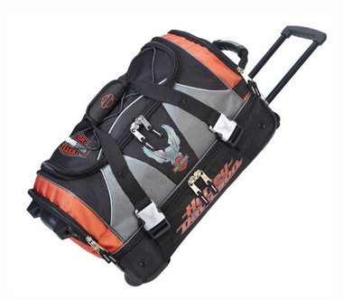 Harley-Davidson 21 inch Carry-On Duffel, Lightweight Wheeled Bag 99622-RUST/BLK - Wisconsin Harley-Davidson