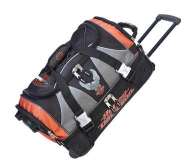 Harley-Davidson 21 inch Carry-On Duffel, Lightweight Wheeled Bag 99622-RUST/BLK - Wisconsin Harley-Davidson