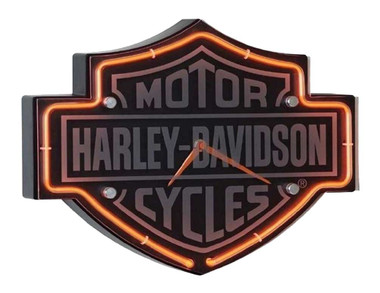 Harley-Davidson Etched Bar & Shield Shaped Neon Clock, Orange Neon HDL-16651 - Wisconsin Harley-Davidson