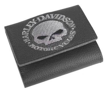 Harley-Davidson Men's Embroidered Willie G Skull Tri-Fold Wallet, XML6145-GRYBLK - Wisconsin Harley-Davidson