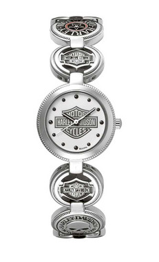 Harley-Davidson Women's Bulova Charm Bracelet Wrist Watch 76L145 - Wisconsin Harley-Davidson