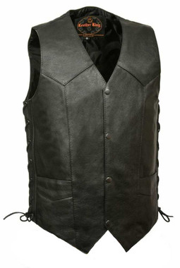Leather King Men's Classic Side Lace Vest w/ Gun Pockets SH1397 - Wisconsin Harley-Davidson