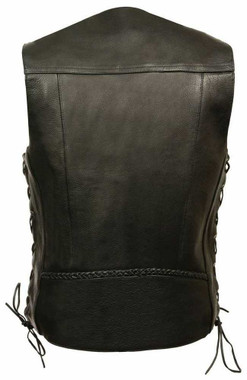 Milwaukee Leather Men's Braided Side Lace Vest w/ Buffalo Snaps ML1359 - Wisconsin Harley-Davidson
