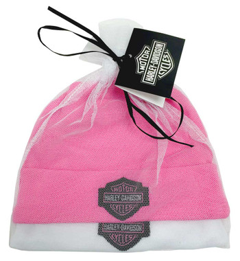 Harley-Davidson Baby Girls' Embroidered B&S Hats, 2PK Gift Set, Pink 3000044 - Wisconsin Harley-Davidson