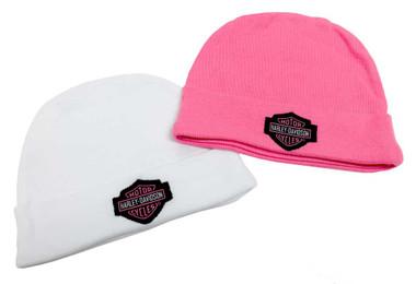 Harley-Davidson Baby Girls' Embroidered B&S Hats, 2PK Gift Set, Pink 3000044 - Wisconsin Harley-Davidson