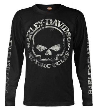Harley-Davidson Men's Shirt, Hand Made Willie G Skull Long Sleeve 30294032 - Wisconsin Harley-Davidson