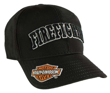 Harley-Davidson Firefighter 3D Black Baseball Cap, Adjustable Closure BC126830 - Wisconsin Harley-Davidson