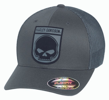 Harley-Davidson Men's Rubber Skull Patch Stretch Trucker Cap, Grey. 99410-16VM - Wisconsin Harley-Davidson