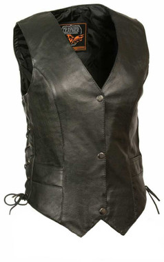 Milwaukee Leather Women's Classic Side Lace Vest w/ Classic Snaps ML1254 - Wisconsin Harley-Davidson