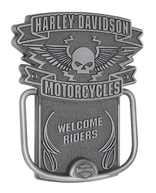 Harley-Davidson Door Knocker, Winged Willie G. Skull Knocker, Silver HDL-10097 - Wisconsin Harley-Davidson