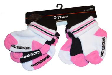 Harley-Davidson Baby Girls' Socks, Three Pack, Pink/Black/White S9AGI63HD - Wisconsin Harley-Davidson
