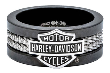 Harley-Davidson Men's Ring, Bar & Shield Steel Cable Band, Black HSR0021 - Wisconsin Harley-Davidson