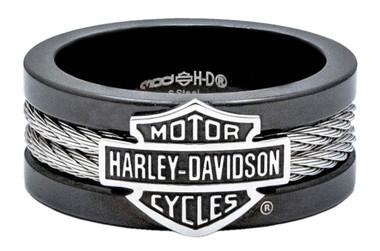 Harley-Davidson Men's Ring, Bar & Shield Steel Cable Band, Black HSR0021 - Wisconsin Harley-Davidson