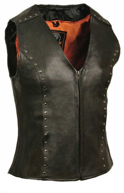 Milwaukee Leather Ladies Zipper Front Vest, Studding Detail ML2078 - Wisconsin Harley-Davidson