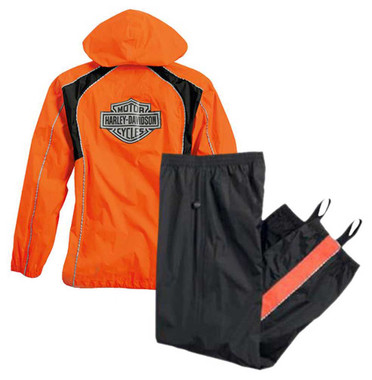Harley-Davidson Womens Hi-Vis Orange Rain Suit Waterproof Jacket/Pant 98316-14VW - Wisconsin Harley-Davidson