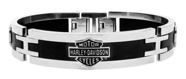 Harley-Davidson Men's Stainless Steel Black Cuff Style Bracelet HSB0001/7.5 - Wisconsin Harley-Davidson