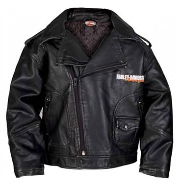 Harley-Davidson Little Boys' Upwing Eagle Biker Pleather Jacket Black 0386074 - Wisconsin Harley-Davidson