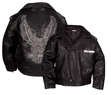 Harley-Davidson Little Boys' Upwing Eagle Biker Pleather Jacket Black 0386074 - Wisconsin Harley-Davidson