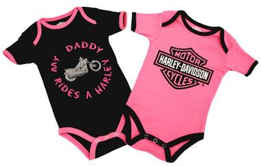 Harley-Davidson Baby Girls' Daddy Rides A Harley Creeper 2-Pack 1103052 - Wisconsin Harley-Davidson